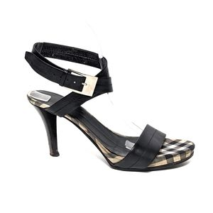 BURBERRY Leather Ankle Wrap Nova Check Sandals 37